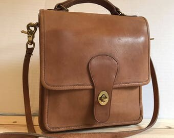 COACH Leather Station Bag // Crossbody Bag Natural Tan Made in The United States