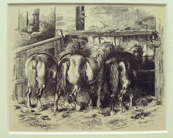 Antique engraving horses feeding in stable Charles Jacque matted print 1880s original vintage excellent condition