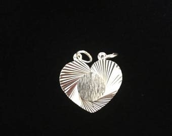 Sterling Silver .925 Couples Heart Charm Pendant 2pc Set