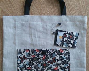 Irish linen and kimono bag with card holder