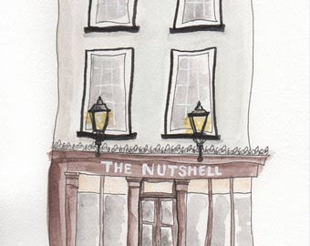 In a Nutshell* // The Nutshell Pub // Watercolour Print // Smallest Pub in UK // Bury St Edmunds