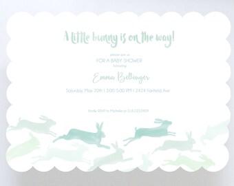 Watercolor Bunnies Baby Shower Invitation