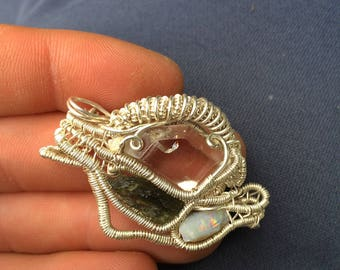 Herkimer diamond quartz wrapped in sterling silver plated wire