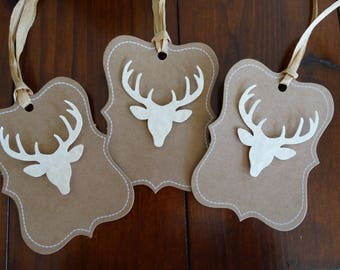 Set of Deer Head scalloped gift tags