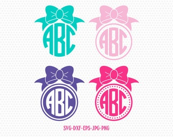 Girl Bow monogram frames SVG, Bow svg, CriCut Files frame Cricut download svg jpg png dxf Silhouette cameo