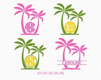 Palm Tree SVG, Palm Tree Monogram frames, Beach Monogram SVG,palm beach svg,for CriCut Silhouette cameo Files svg jpg png dxf