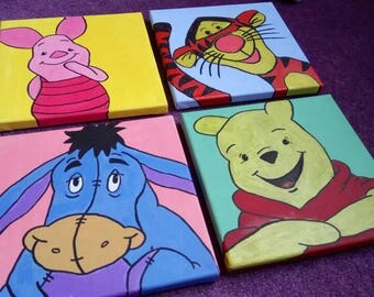 Handpainted Disney Winnie the pooh canvas set of 4