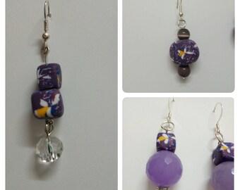 Different Flower Earrings, purple dog