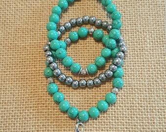 3 piece Turquoise Magnesite + Hematite bracelet set