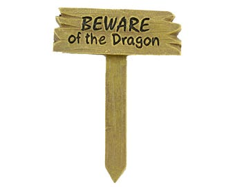 Beware of the Dragon Sign - 2.5 inches - Resin - Miniature Fairy Garden Dollhouse