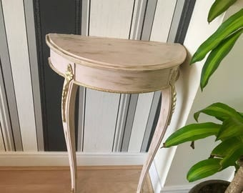 Shabby chic 'Versailles' soft pink and gold console table