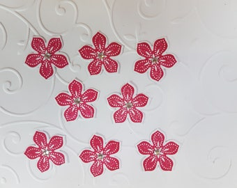 """Set of 8 flower embellishments for papercrafting 1"""" [2.5cm]  Red with rhinestone centre"""