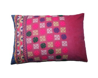 "Embroidered Bohemian Lumbar Pillow or Cushion Cover / Rectangular 16x24"" (40x60cm) UpCycled from a Vintage Tribal Indian Skirt"