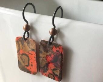 Patina copper earrings with black Niobium hooks