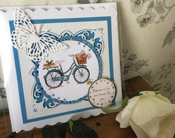 Handmade friendship/birthday bicycle card