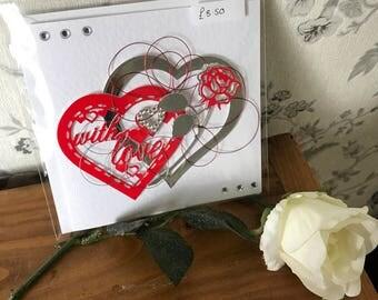 Handmade 3D with love card