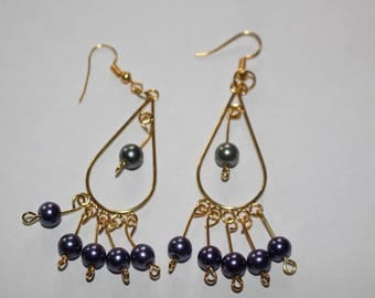 Metallic purple and green bead chandelier earrings