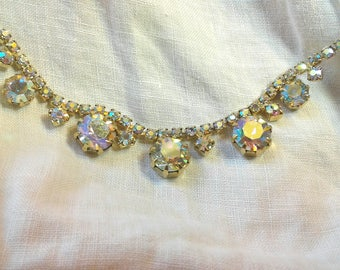 Vintage Aurora Borealis Rhinestone Necklace