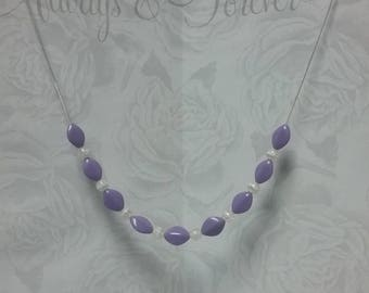 Purple acrylic beads necklace