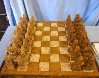Hand carved stone chess set