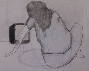 Studio Sale: girl watching Tv graphite color pencil