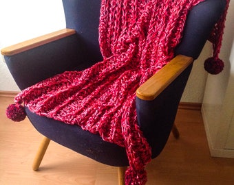Crochet blanket or throw in pink shades