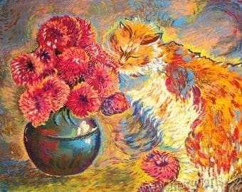 Ginger cat with flowers
