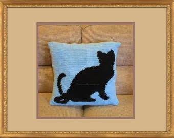 Hand crafted crochet Black Cat cushion cover - button fastening