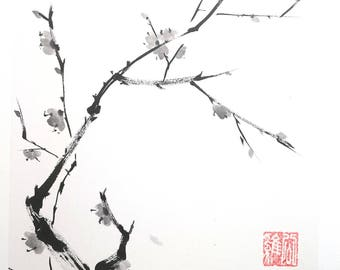 Plum blossom. Summi-e ink and rice paper.