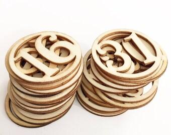 Round Wooden Veneer Number Embellishments