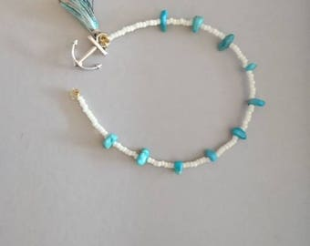Turquoise bracelet with anchor Pompom