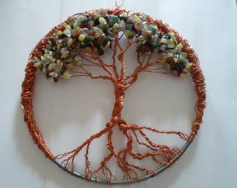 Copper wire and stone Tree of life