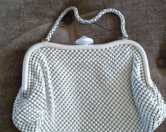Metal Mesh Purse In Creme By Whiting Davis