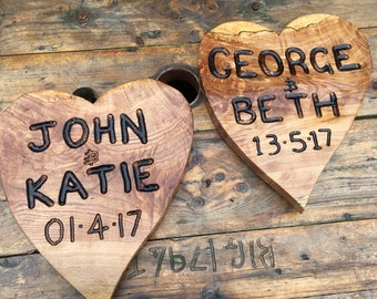 Personalised heart shaped wedding sign