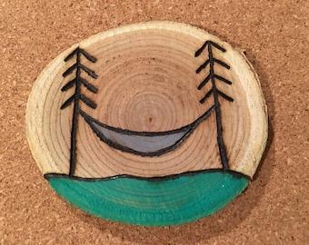 Wood Burned Hammock Magnet