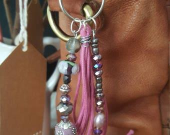 Handbag purse charm bead and tassell zipper pull