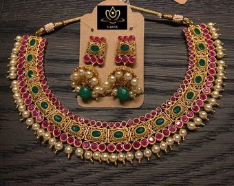 Faux Pearl and Ruby Emerald Necklace Set| Jhumka Set| Indian Jewelry| Indian Bridal Jewelry| Indian Wedding Jewelry