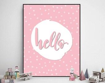 Kids Room Art, Nursery Wall Decor Girl, Printable Wall Art, Hello Quete, Playroom Wall Art, Nursery Print, Children Print, Kids Print Decor