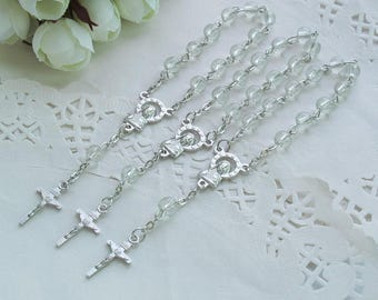 24 Pcs Glass Mini Rosary Favor for Baptism / Christening / First Communion / Quinceanera / Wedding / Recuerdos de Bautizo-JA378-Clr