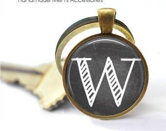 CHALKBOARD INITIAL Key Ring. Letter / Peronalised. Handmade Gift for Him. Bronze / Silver Key Chain. **Handmade** From Australia (K038)