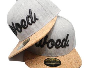 Woed - snapback – Real Cork – acrylic - adult size – Grey