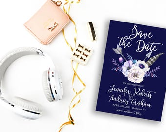 Save the Date Printable Floral Digital Wedding Navy Blue Watercolor White Flowers Boho Invitation Bohemian Save the Date Invite WS-007