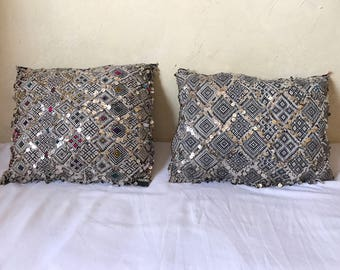 Set of  Two Beautiful Vintage Moroccan Sequins Kilim pillows