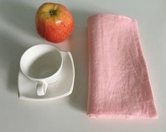 Linen napkins set of 4,6. Light pink linen dinner napkins. Wedding linen napkins,
