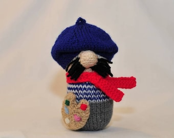 Hand Knitted Henri the Artist, plush softie painter. Big Nose collectible toy