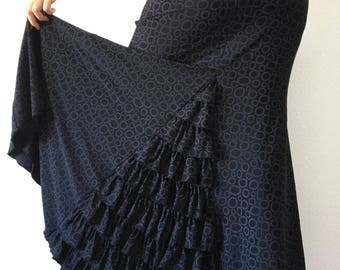 Black skirt ruffle godet back