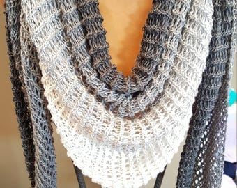 handknit shawl from a soft cotton blend