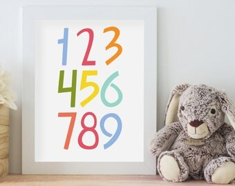 1-2-3 - Nursery Art - Numbers 1-9 - Printable Art
