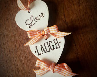 Love Laugh Dream hanging hearts