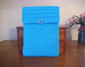 Handmade Crocheted Netbook Laptop Sleeve with Decorative Button Turquoise